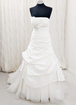 Ball gown wedding dress with pleats and tucks - corsage wedding dress -South London Bridal shop - Wedding dress sho Croydon