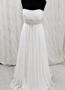 EMpire wiats wedding dress with embellished beaded jewel waistband - pleated wedding dress - croydon bridal shop
