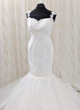 Mermaid wedding dress - mesh bac with lace upper - full tulle mermaid skirt - croydon wedding shop #londonbridalboutique
