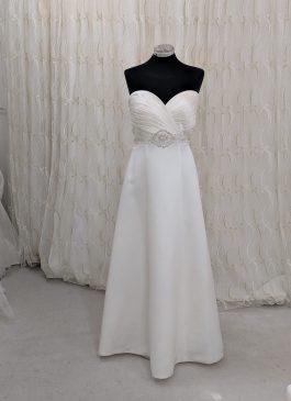 LBB107 Wrap over pleat dress embellished waist - The London Bridal Boutique for sample sale designer weddig dresses, ex dsplay dresses, budget wedding dresses -buy wedding dresses in London