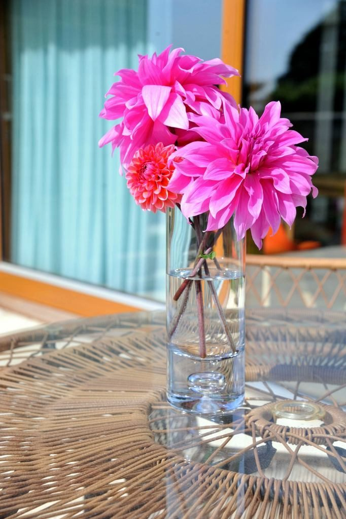 Flowers from the garden on terrace table