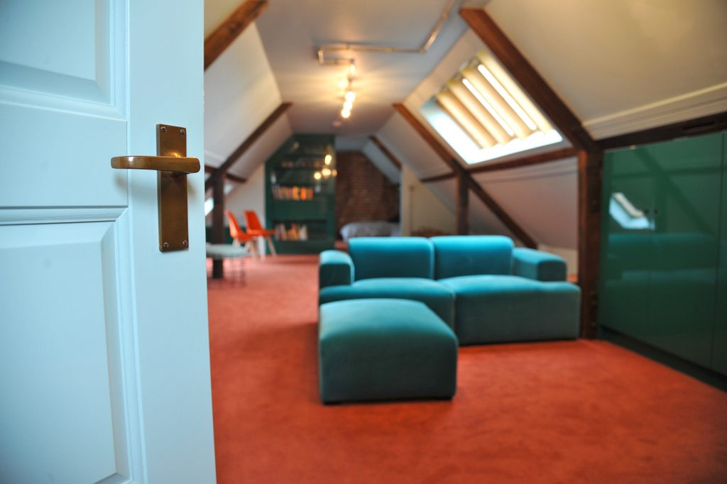 Attic dorm seating area