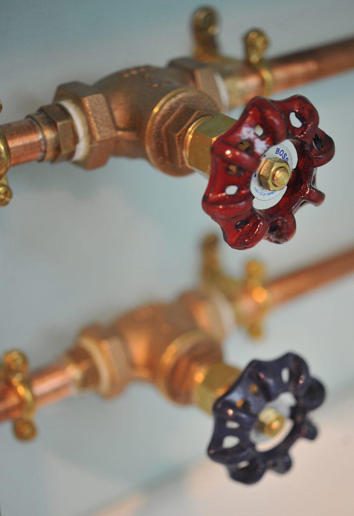 Copper pipes in Attic Dorm bathroom