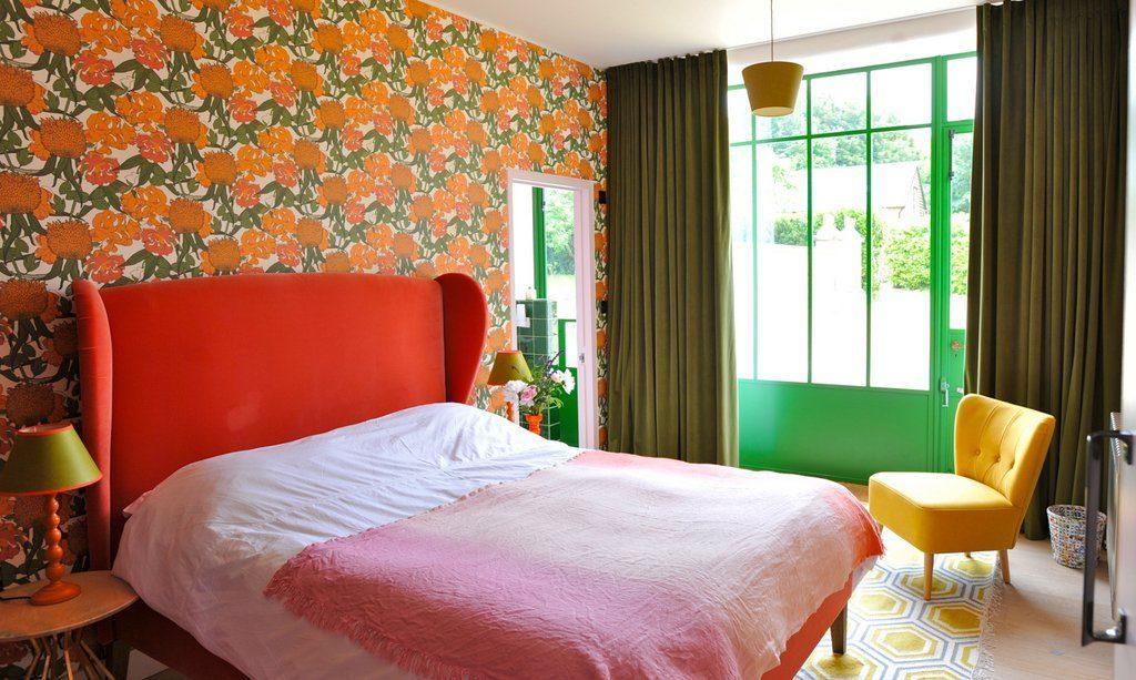 Orange room, with en suite shower room and door to garden