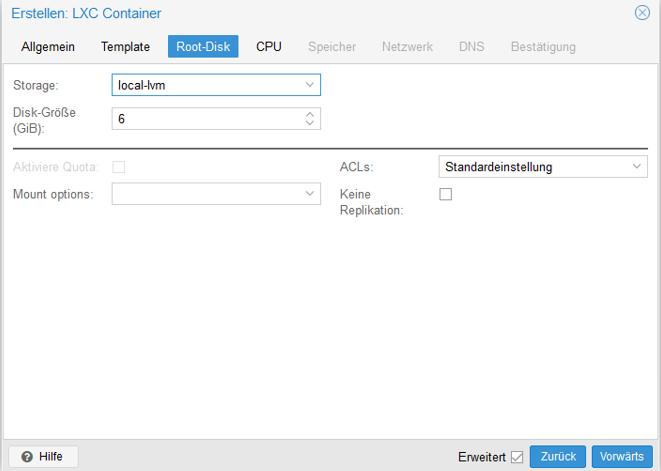 Festplatte unter Proxmox für den Container erstellen