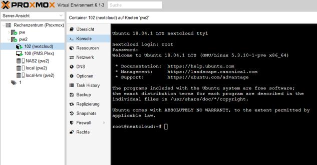 konsole für die aktivierung von ssh zugang für nextcloud