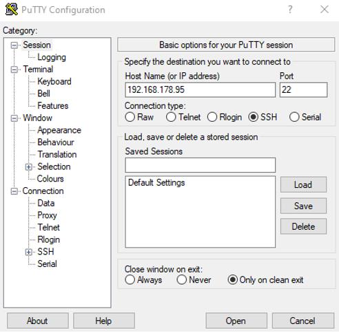 PuTTY ssh session aufbauen