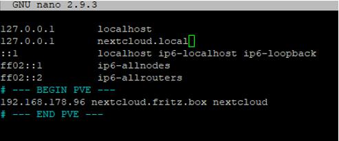 Nextcloud Hostdatei anpassen