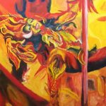 Nenet Vlachaki, Dancer, oil on canvas, brazilian samba carnival poll dancing feathers red yellow woman girl smile