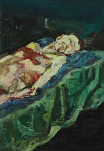 Original painting by Nenet Vlachaki. Half nude male model sleeping on a bed, green and blue sheets, vibrant colors, brushstrokes, black background