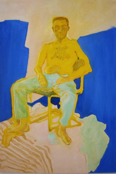 Stylized male model sitting, wearing bluish pants, stripped fabrics, pastel flat green, raw blue background.
