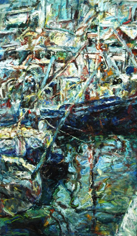 Large vertical canvas art, seascape that captures a dock, ships and boats, through a crisp, expressionist style, and vibrant colors. Light blue, yellow, red, reflections on the water, swirls of paint that melt together, dynamic brushstrokes.
