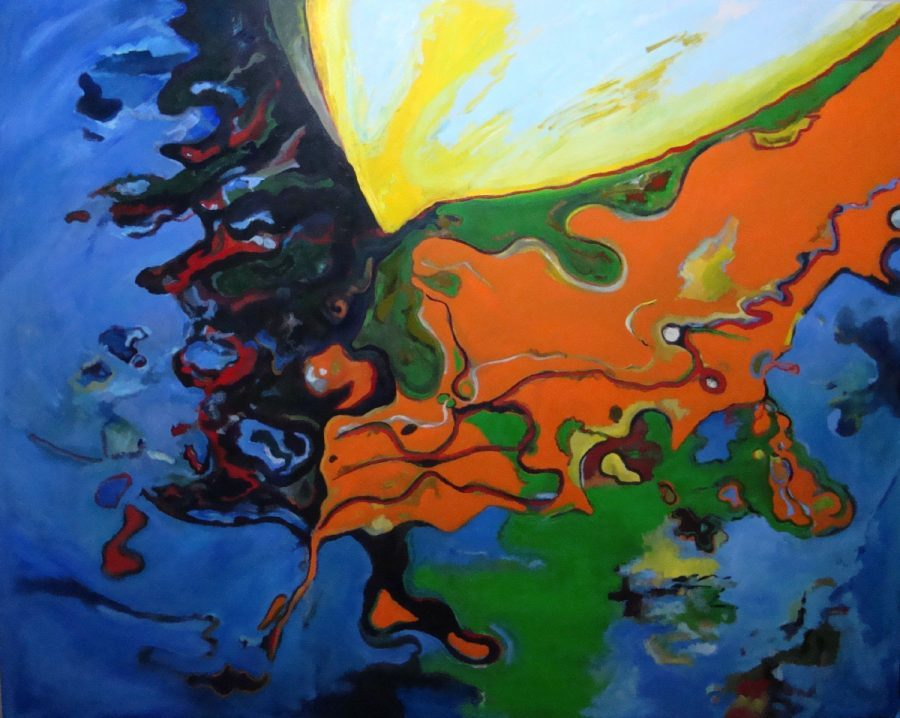 Landscape painting by artist Odys Stylianos, colorful reflections, boat reflecting on water (sea), deformation, traditional painting on large canvas using oil paint and brush. Dominant colors: blue, green, yellow, orange.
