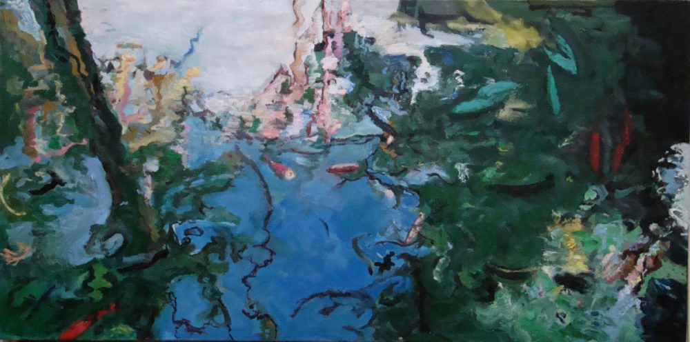 Horizontal landscape painting, trees and clouds reflecting on lake's water, goldfish (koi), green, blue, pink colors, deformations, visible brushstrokes.