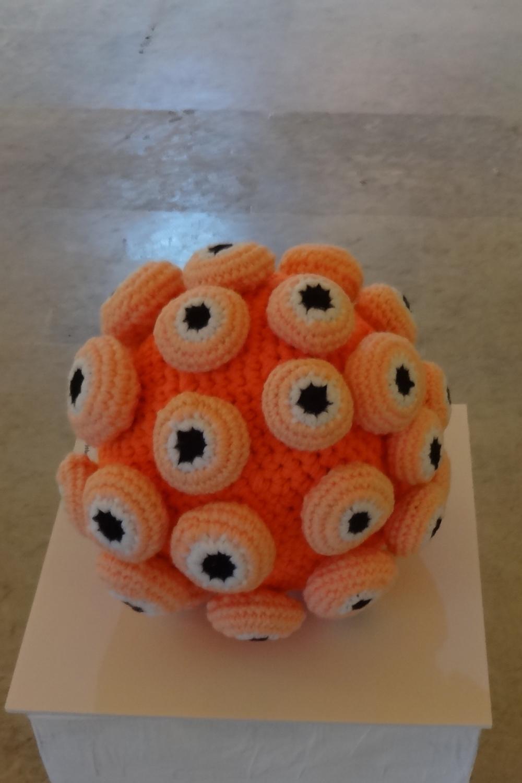 crochet soft sculpure yarn textile art eyeballs ball