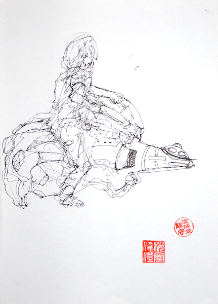 Odys S. Stylianos, Ink A4 brush pen black white paper stamped hanko stamp kanji speed drawing freeform image figures fiction