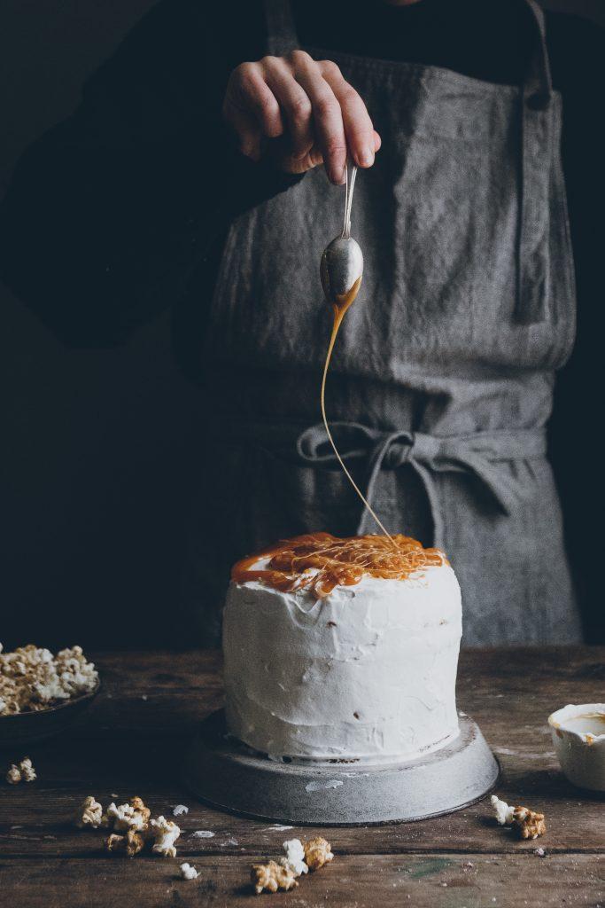Vegan dulce de leche cake with caramel popcorn