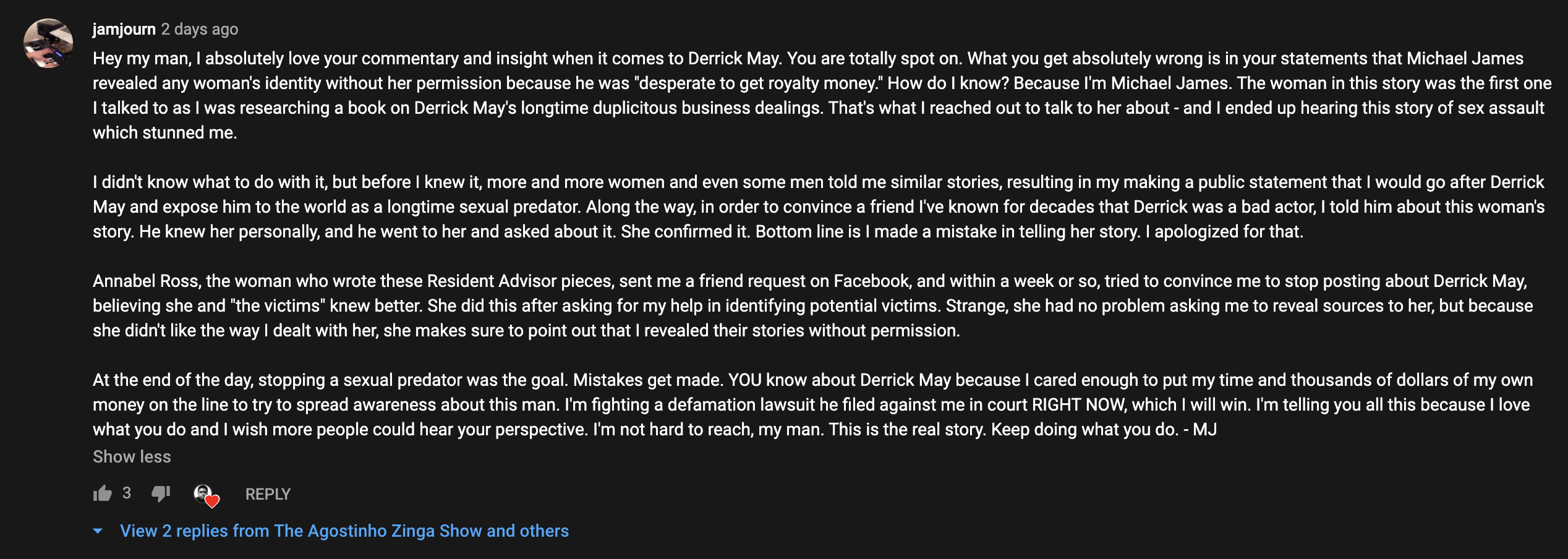 Michael James statement on YouTube