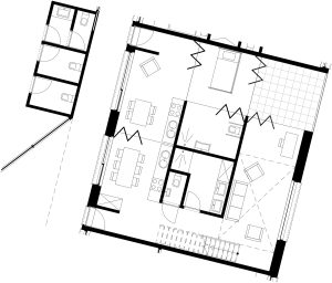 Detailplan of care-intensive apartment with a connection to the family apartment 1:50