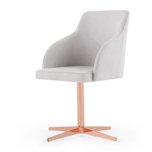 a dove grey office chair with copper swivel base