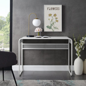 slimline white metal console desk