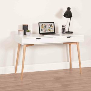 white desk with oak legs