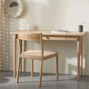 wooden console desk with chair