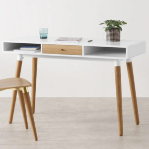white and oak slim desk