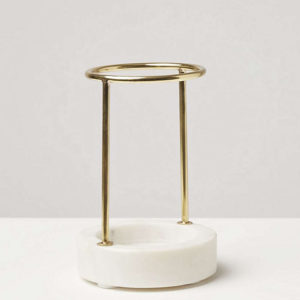 brass pen holder with white marble base
