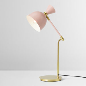 small enamel pink desk lamp
