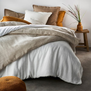 mixed set of bed linen in different colours