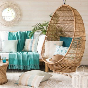 bucket cocoon chair in wicker
