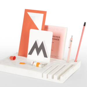 carved white marble desk organiser with styled accessories