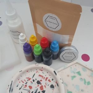DIY at home terrazzo making kit with three different mould shapes