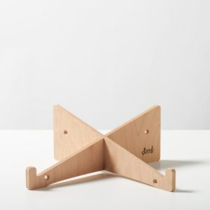 A two piece connecting laptop riser in eco plywood