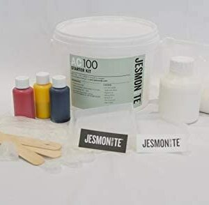 Laid out jesmonite equipment including spatulas and pigment bottles