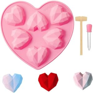 Pink silicone mould in 3D geometric heart shape
