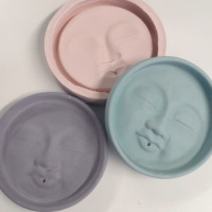 Round silicone tray mould with mystical moon face design
