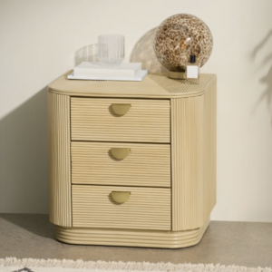 Reeded cane bedside table with 3 drawers