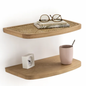 Two floating shelves in oak and rattan