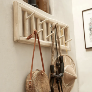 rustic teak wall hook unit with accessories