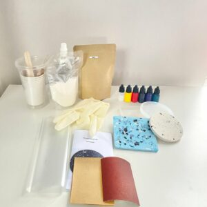 Jesmonite kit unpacked including cups, pigments and moulds