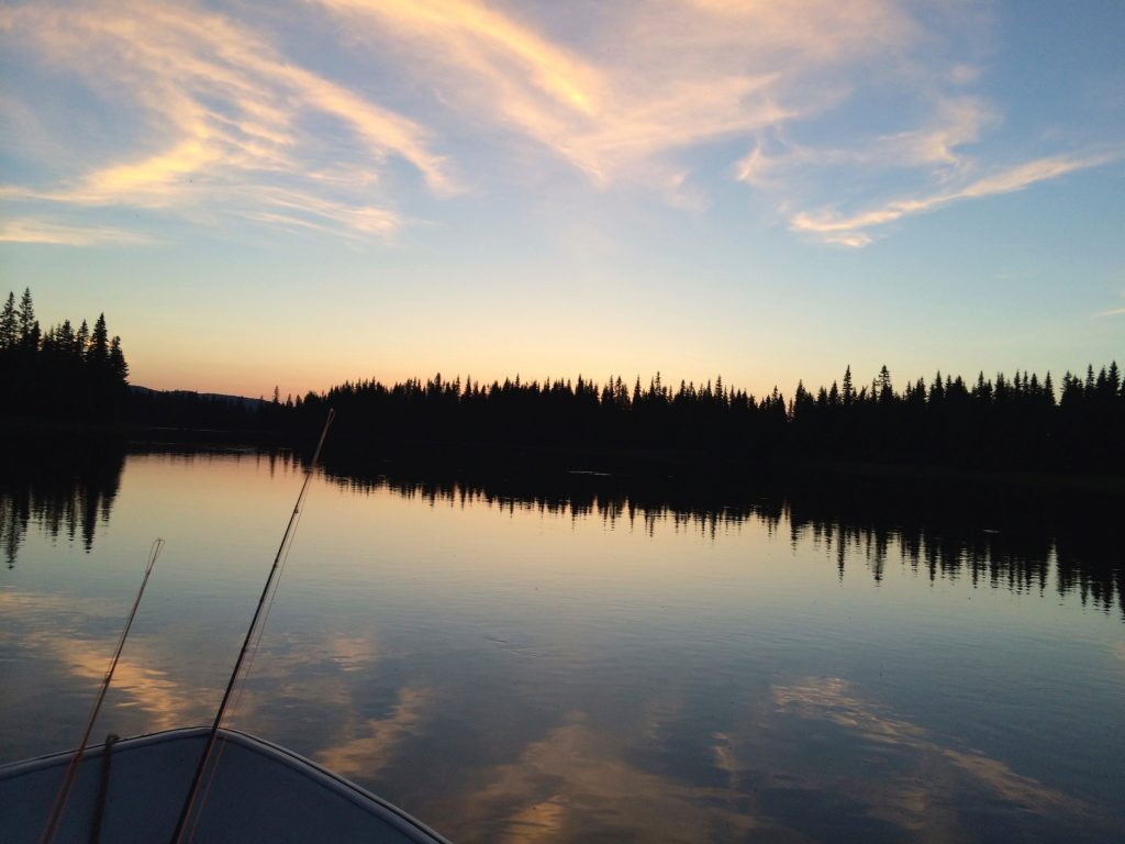 Fly rods and boat - fishing for trout and Arctic char at Skålestrømmen, Norway