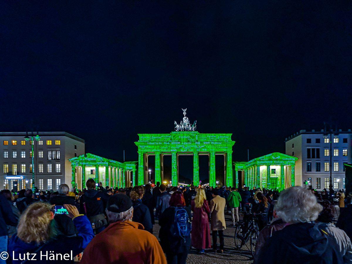 Das angeleuchtete Brandenburger Tor - Festival of Lights und Berlin Leuchtet Foto 2019