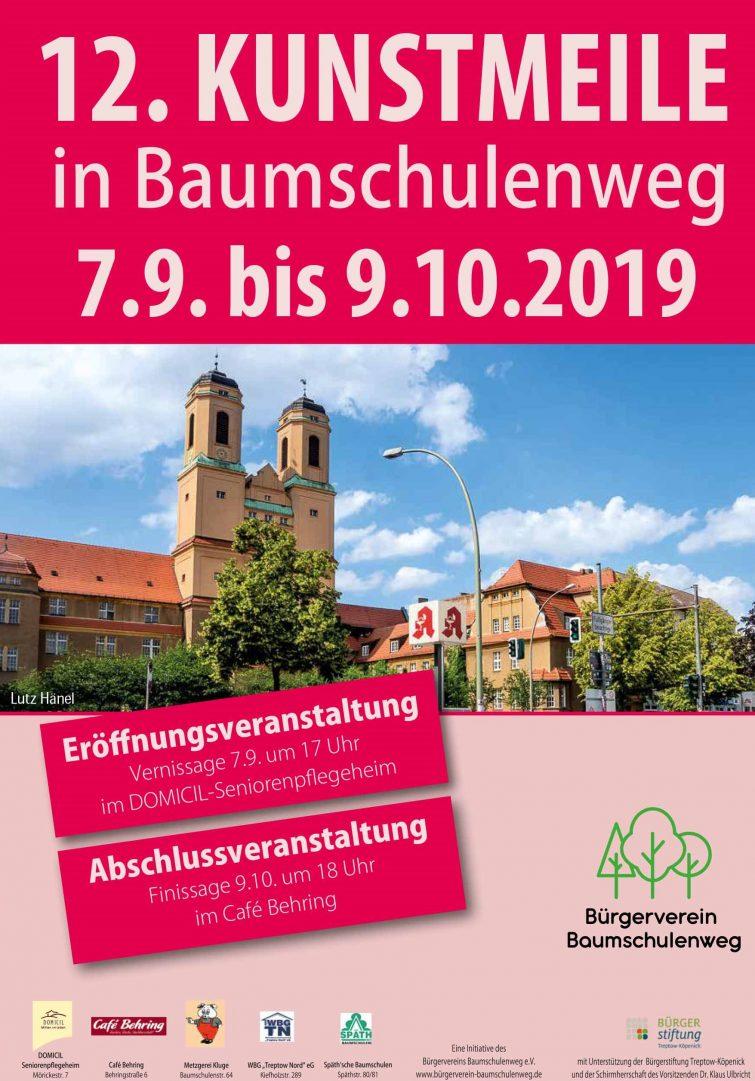 Plakat der 12. Kunstmeile-Baumschulenweg in Berlin 2019