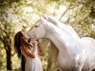 Pura raza española-ori Gaya valkoiseen mekkoon pukeutuneen omistajansa kanssa Hollannissa