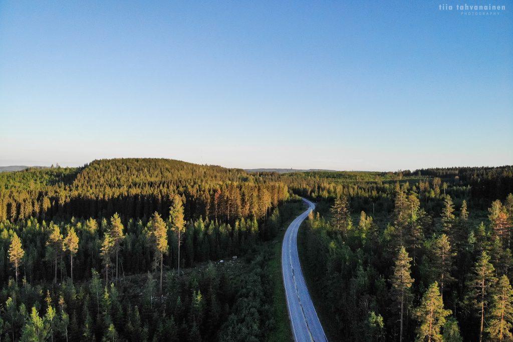 Dronekuva Keski-Suomesta, Muuramen Isolahdesta - metsää ja järveä sinisellä taivaalla