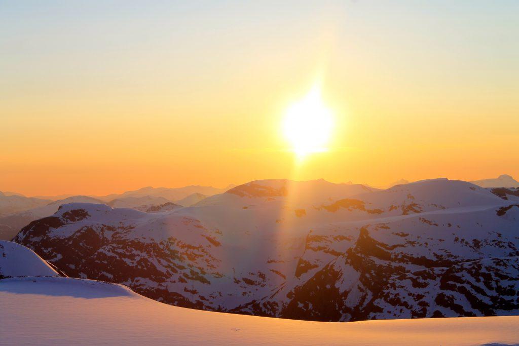 Solnedgangen på Jostedalsbreen er sjelden flott.