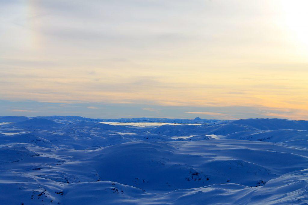 Baksafjellet har en utrolig utsikt, her mot Hardangervidda. I det fjerne ser vi Hårteigen.