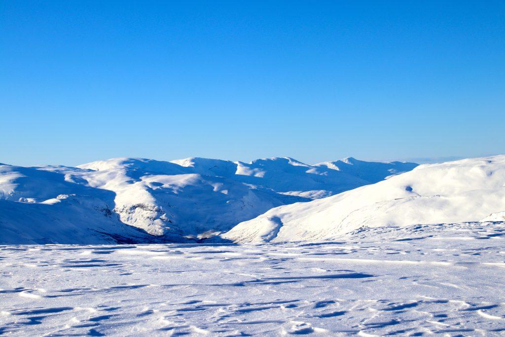 Utsikt mot Raundalsryggen med Olsskavlen (1.576 moh), Seldalsnuten (1.548 moh), Skipadalsnuten (1.496 moh) og Horndalsnuten (1.461 moh).